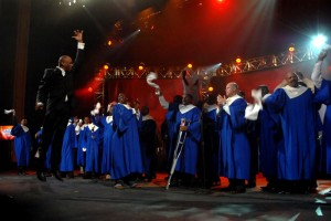 Grammy winner Donnie McClurkin directs the NFL Players All-Star Choir that will perform at the Super Bowl Gospel Celebration on February 5, 2010 at the James L. Knight Center in Miami during Super Bowl Weekend.