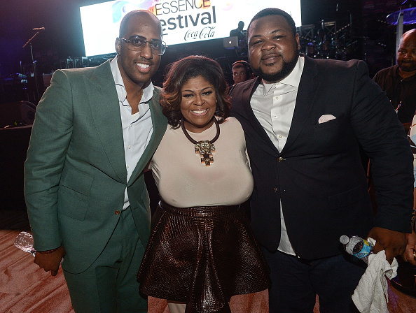 NEW ORLEANS, LA - JULY 05: (L-R) Isaac Caree, Kim Burrell, and Zacardi Cortez attend the ESSENCE All-Star Gospel Tribute to Kim Burrell at the 2015 Essence Music Festival on July 5, 2015 at Ernest N. Morial Convention Center in New Orleans, Louisiana. (Photo by Paras Griffin/Getty Images)